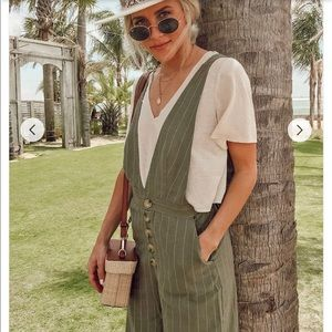 Forever 21 Pants - Pinstriped Plunging Linen-Blend Jumpsuit